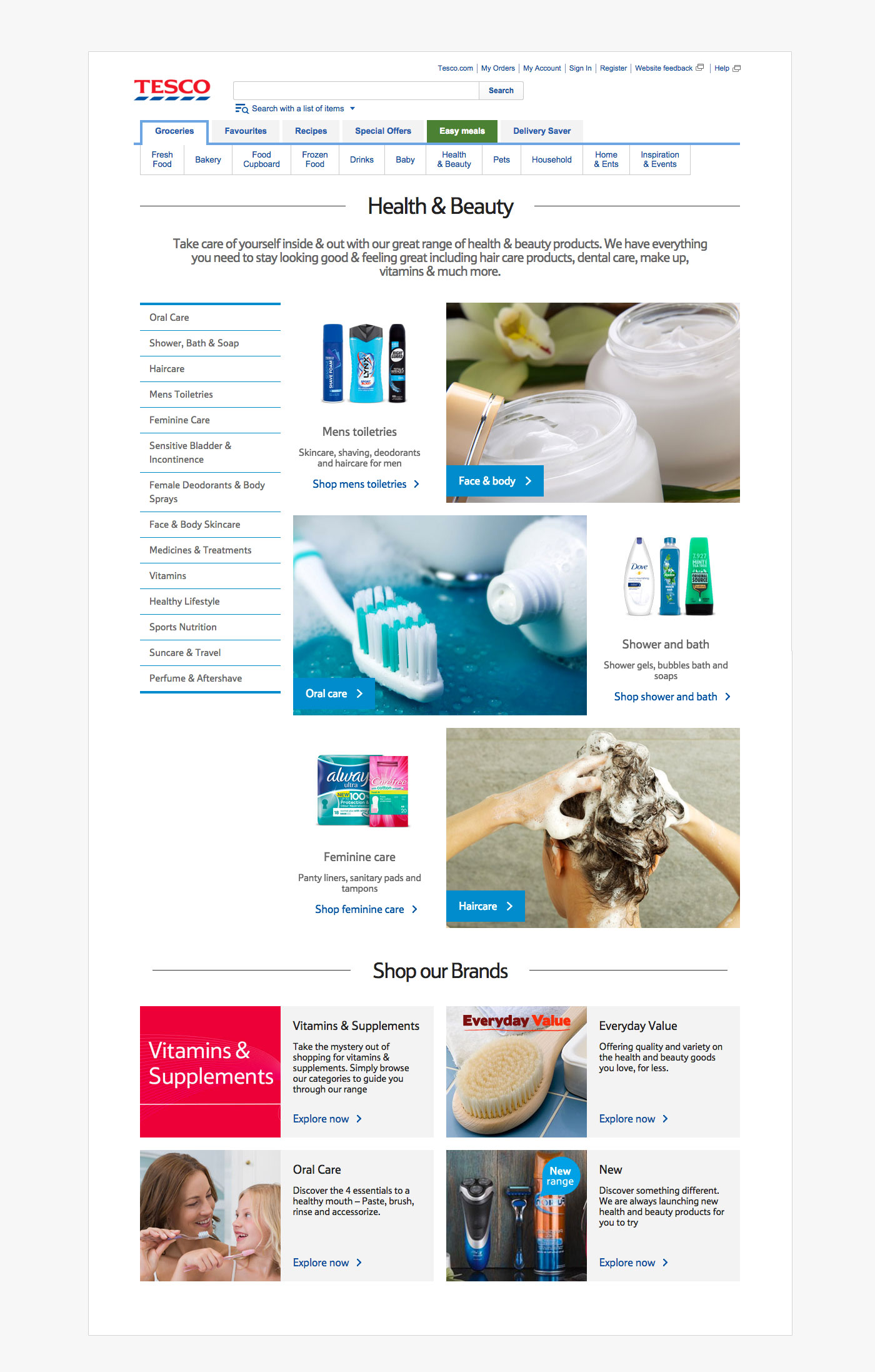 Tesco Category Pages